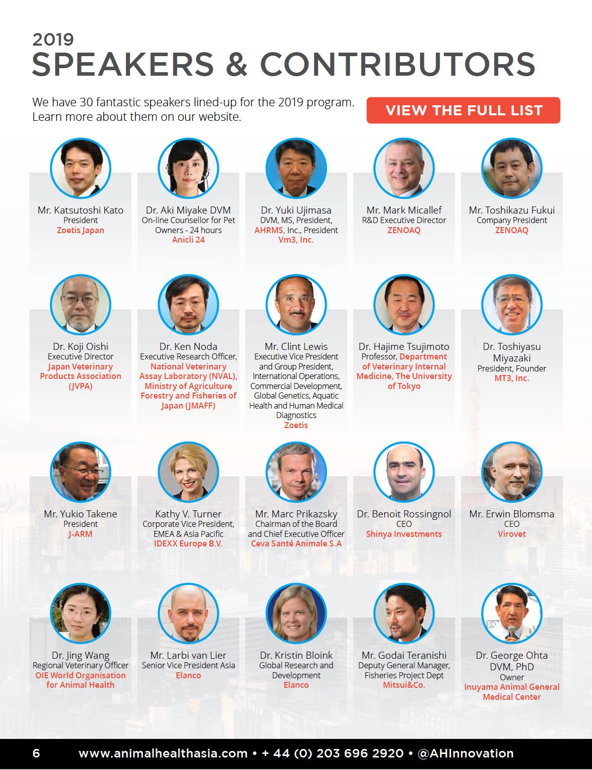 Animal Health Innovation Asia 2019 Speakers & Contributors